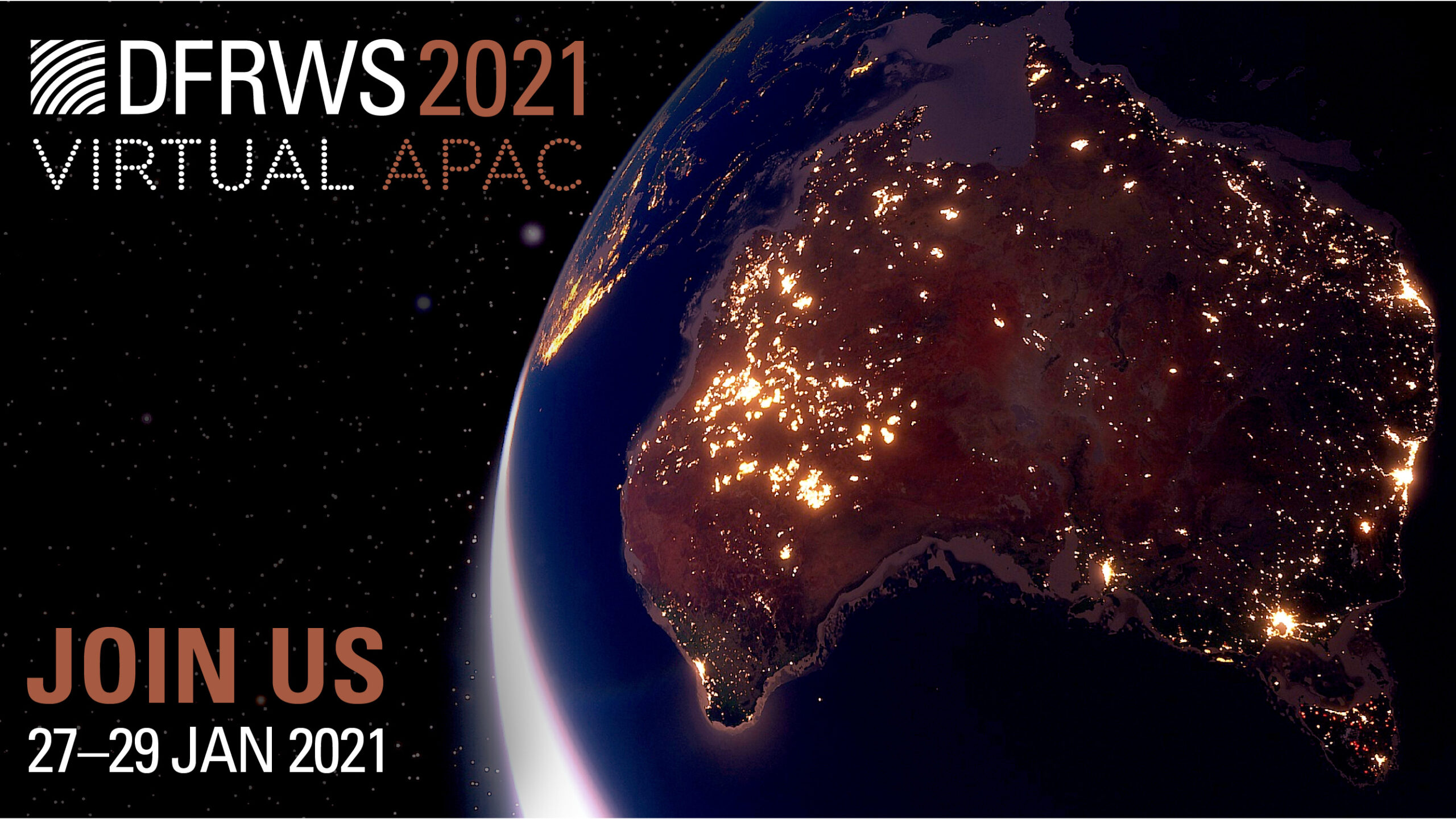 Image of a globe focused on Australia with the DFRWS APAC 2021 dates